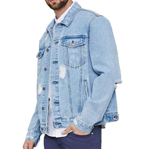 Wholesale Indigo Ripped Long Sleeve Denim Jacket Manufacturer