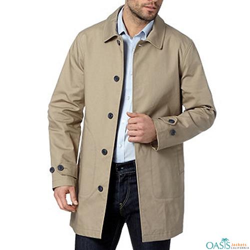 Light Beige Mens Trench Coat