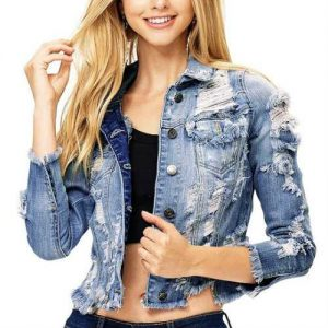 Wholesale Light Wash Ripped Denim Jackets Manufacturer