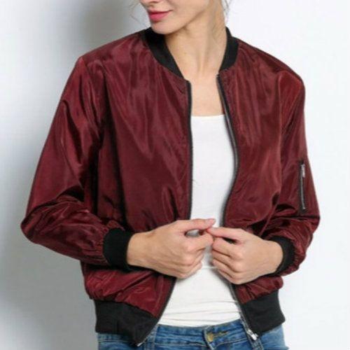 Maroon Waist Length Fleece Jacket