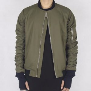 Wholesale Matte Finish Green Bomber Jacket