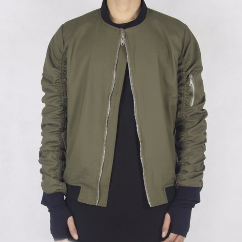 Wholesale Matte Finish Green Bomber Jacket