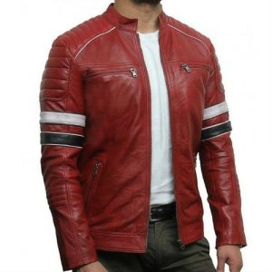 Red and Black Faux Fur Leather Jacket