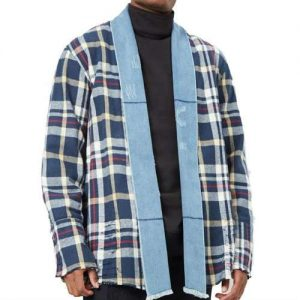 Wholesale Navy Blue & White Checked Flannel Jacket