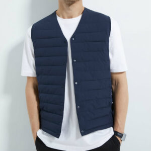 Manufacturer of Navy Blue Jacket with Leather Patch