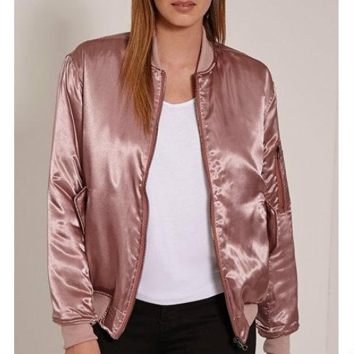 Pale Pink Satin Puffer Jacket Manufacturer