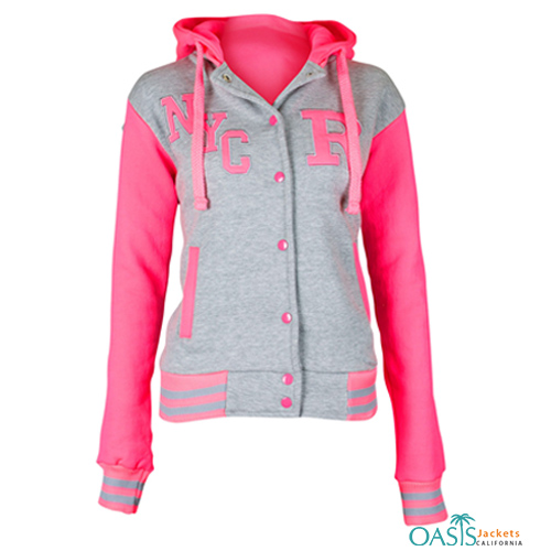 Pretty Pink Hooded Varsity Jacket for Women