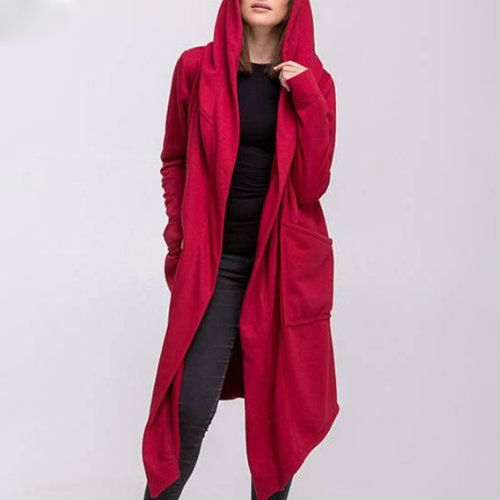 Wholesale Wind Breaker Long Red Hooded Jacket