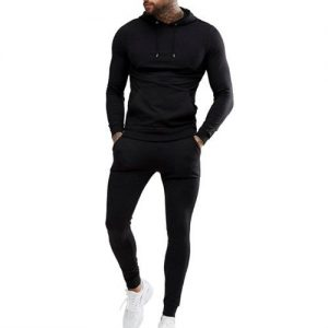 Black Sports Pullover Tracksuit