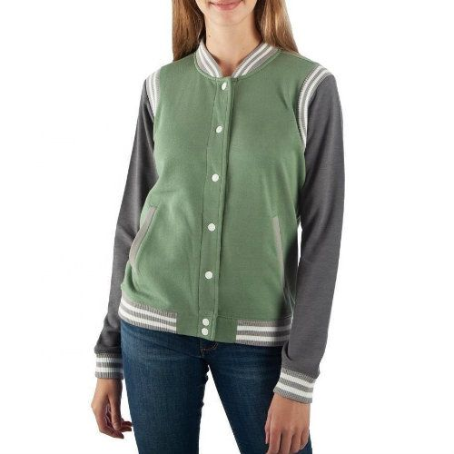 Wholesale Green And Grey Varsity Jacket
