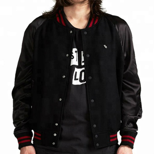 Wholesale Stylish Black Varsity Jacket