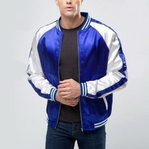 Wholesale Blue Satin Baseball Jacket