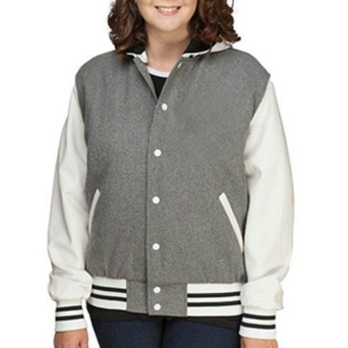 Vintage Grey and White Women's Wholesale Varsity Jacket