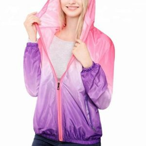 Wholesale Windbreaker Mauve Ladies Jacket