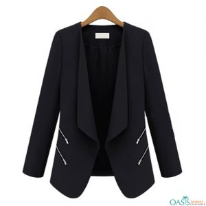 Zippered Black Suit Jacket